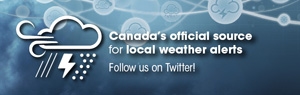 Weather alerts are available on Twitter